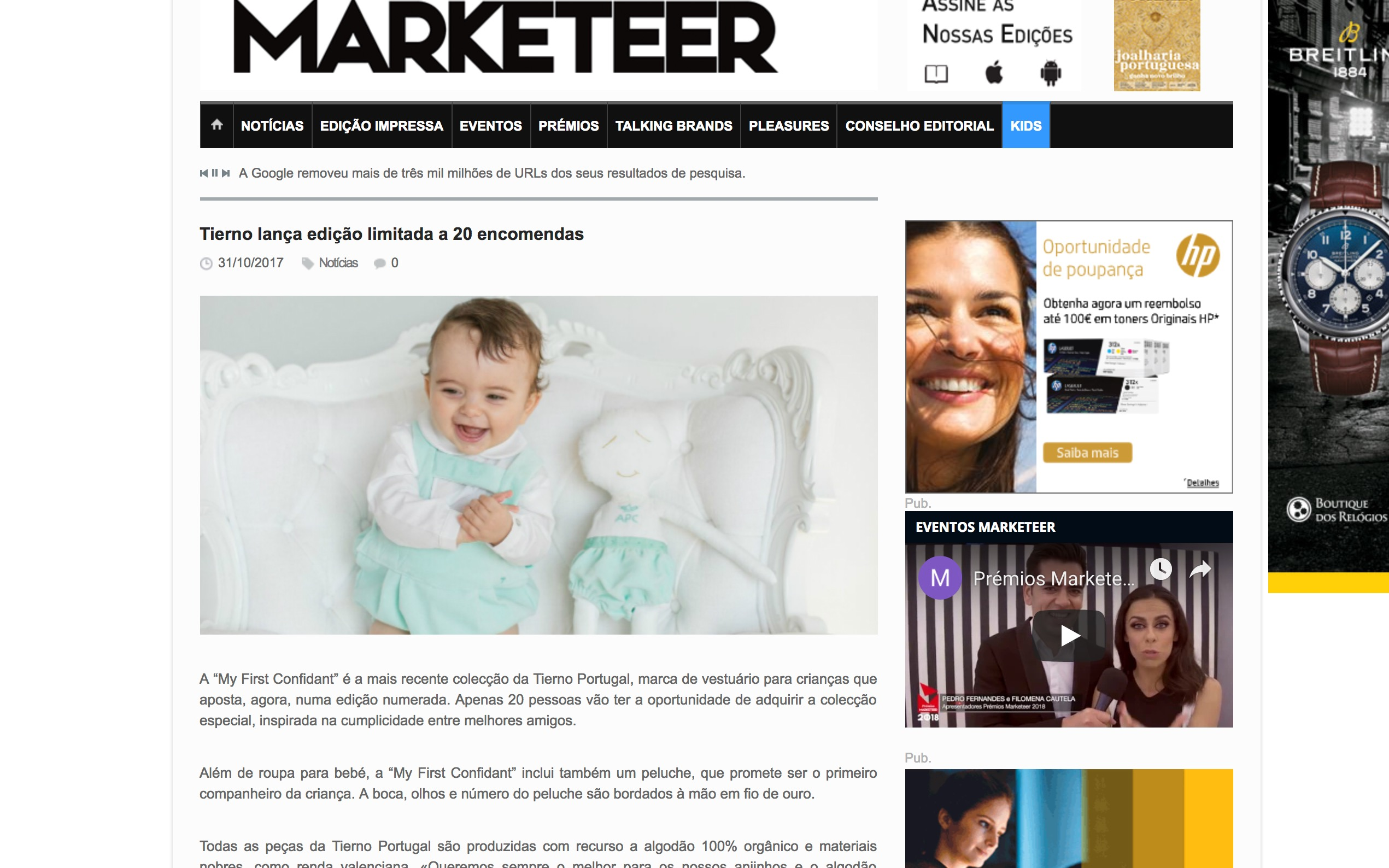 TIERNO LIMITED EDITION FEATURED IN MARKETEER